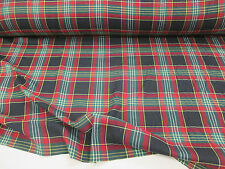 "Red, Green & Black Tartan/Plaid Checked 100% Cotton Twill Weave Fabric. 54"" Wide"