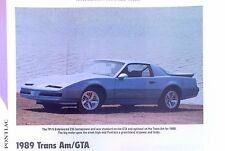 1989 Pontiac Firebird Trans Am GTA Info/Specs/photo prices 11x8