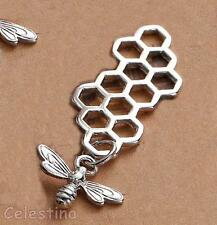 2 Bright Silver Bee and Honeycomb Charms - Connectors Joiners Links 46mm