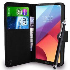 Funda tipo billetera de cuero PU Negro Funda Libro Para Teléfono Móvil LG G6