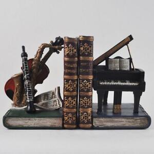 Musical Instruments Office School Desk Book Ends Decorative Bookshelf Organizers