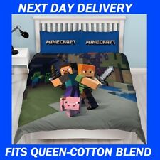 MINECRAFT FITS QUEEN DOONA COVER SET DUVET QUILT,KIDS,COTTON BLEND ,BEDDING