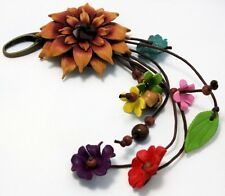 HANDMADE GENUINE LEATHER KEYCHAIN FLOWER KEYRING BAG CHARM BROWN FLORAL PURSE
