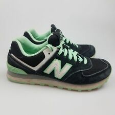 Women's NEW BALANCE '574' Sz 7 US Runners Black Green VGCon | 3+ Extra 10% Off