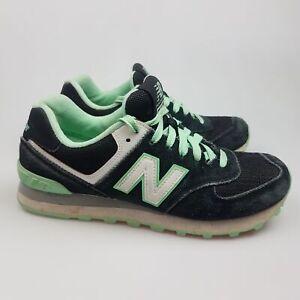 Women's NEW BALANCE '574' Sz 7 US Runners Black Green VGCon   3+ Extra 10% Off