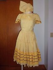 Vtg 2 pc Dress Prairie Square Dance Western Circle Skirt Top Bonnet Gingham Boho