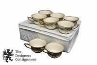 Set of 8 Rosenthal Ivory Bavaria Orelay Floral and Fruit Teacups in Padded Case