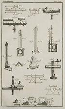1765 ANTIQUE PRINT ~ LEVEL VARIOUS APPARATUS LEVELLING LENS DIAGRAMS