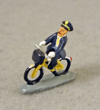 J CARLTON BY GAULT FRENCH MINIATURE FIGURINE POST MAN RIDING BICYCLE IN PARIS