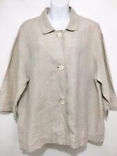 J. Jill Beige Womens L Oatmeal Linen Unlined Blazer Jacket 3/4 Sleeves