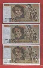 Lot de 3 x 100 FRANCS EUGENE  DELACROIX de 1979 ALPHABETS  U.12 J.15  V.16