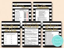 Print Yourself Black Stripes, Gold Bridal Shower Games, Wedding Shower BS27