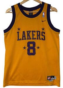 Kobe Bryant Nike Vtg Men's Sz S Boy's Sz L Yellow Mesh Swingman Lakers Jersey