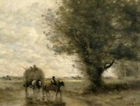 The Haycart Jean Baptiste Camille Corot Painting Print on CANVAS Giclee Repro SM