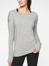 NWOT Athleta Studio Barre Sweatshirt Top, Marl Grey Heather SIZE S  #777919 E812