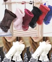 Women's Real Rabbit Fur Hand Wrist Warmer Fingerless Winter Gloves