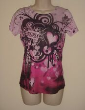 """NY Collection Pink & Black Tee  Size S  Bust 32""""  Length 23 1/2"""""""