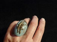 LUC KIEFFER BLUE & Brown w/ Gold Barbed Wire Large Oval Ring ~ Sz: 6.5