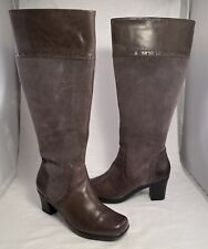 NWOT CLARKS Women's Size 8 M Tall Fashion Boots Grey Suede and FInished Leather