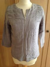 FANTASTIC RIVER ISLAND GREY ZIP FRONTED PLEASTED JACKET UK SIZE 6 WORN GOOD COND