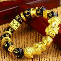Feng Shui Black Bead Alloy Wealth Bracelet with Golden Pixiu Charms 2019New