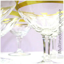 5 Stück Champagner Schalen Sekt Gläser Goldrand Antik Kristall Glas aus Zwiesel