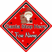 Personalised Santa Stop Here Window Sign ~ Santa & Rudolph - Red