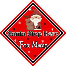 Personalizzata Babbo Natale Stop Qui Firmare finestra ~ Babbo Natale & Rudolph-Rosso