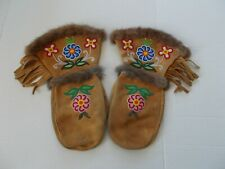 Moosehide vintage large floral beaded Native gauntlet mittens, rabbit fur, lined
