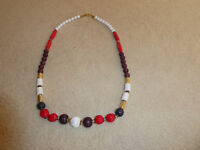 ELLE NECKLACE 35 inch RED WHITE GOLD BROWN & BLACK >  WOOD PLASTIC & METAL