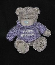 Peluche Doudou Ours Gris CARTE BLANCHE Me To You Pull Violet Birthday 14 Cm TTBE