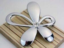 5Pcs Silver Drawer Pull Crystal Cabinet Door Handle Flower Shaped Furniture Knob