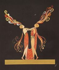 "ERTE ART DECO BOOK PRINT ""KISS OF FIRE"" MAN & WOMAN IN RED & GOLD COSTUMES"