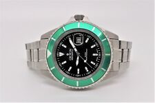 CROTON CA301159 AQUAMATIC DIVER MEN'S WATCH GREEN BEZEL W/ STAINLESS STEEL BAND
