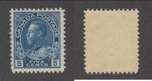 MNH Canada 5c Grey Blue KGV Admiral Stamp #111b (Lot #20022)