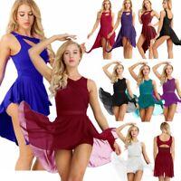 Women Sleeveless Lyrical Ballet Dance Dress Gymnastic Leotard Maxi Skirt Costume