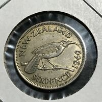 1940 NEW ZEALAND SILVER 6 PENCE BEAUTIFUL COIN