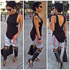 Fashion Women Backless Tee Vest Sleeveless Blouse Casual Tank Tops T-Shirt Sexy