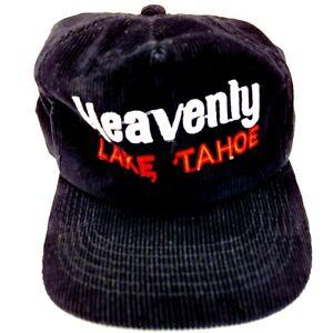 Heavenly Lake Tahoe Corduroy Hat Cap Strapback Black Souvenir Vacation B5