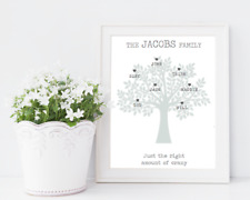Personalised Family Tree Print. Family Tree Print in Grey. Family Print!