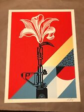Shepard Fairey Obey AR-15 Lily poster print S/N edition of 550 - gun lotus