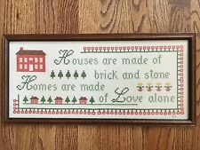 Sampler Cross Stitch Embroidery Homes Are Made Of Love Vintage Wood Frame