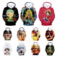 Anime One Piece HD Print Pullover Hoodie Sweatshirt Sportswear Cosplay Coat Tops