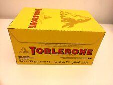 24 TOBLERONE 35g SWISS MILK CHOCOLATE WITH ALMOND BARS FULL BOX FRESH 03.07.2020