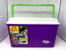 New Vintage IGLOO The Picnic Basket Cooler Purple White Lime Green Retro