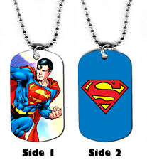 DOG TAG NECKLACE - Superman #S1 Man of Steel Clark Kent Superhero Comic Book Art