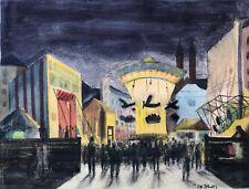 1v2: Neue Sachlichkeit Gemälde Kirmes Karussell Stadt? Max Stern Düsseldorf~1925