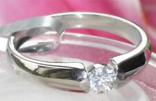 WOMENS round  SOLITAIRE ENGAGEMENT SIMULATED DIAMOND RING STR317 stainless steel
