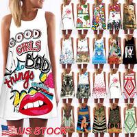 Women's BOHO Loose Sleeveless Floral Party Summer Beach Sundress Mini Dress US