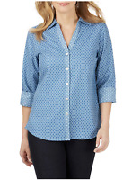 Foxcroft 6 New Womens Mary Shape Fit Shirt Blue Geo Print No Iron Blouse $86 NWT
